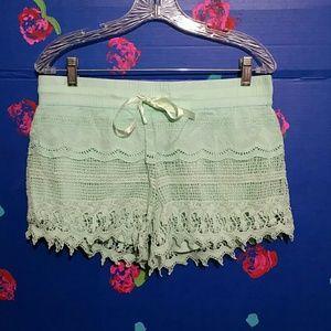 Pants - Aqua Blue Lacey Crochet Shorts Junior's L 11-13